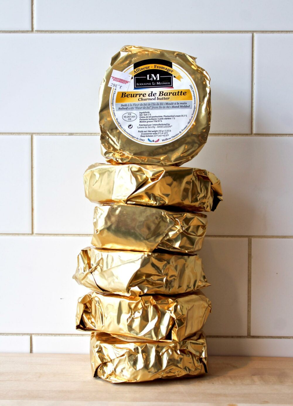 Butter Wheels Wrapped and Stacked