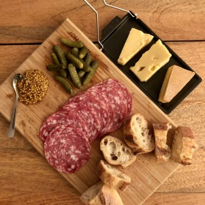 Cheese and meat board with raclette pan