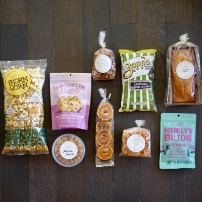 Packaged snacks on a table