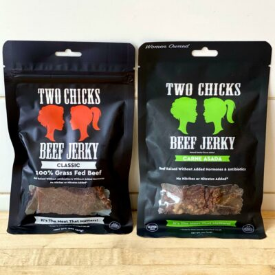 Two Chicks Beef Jerky Packages