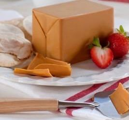 Plated block of cheese