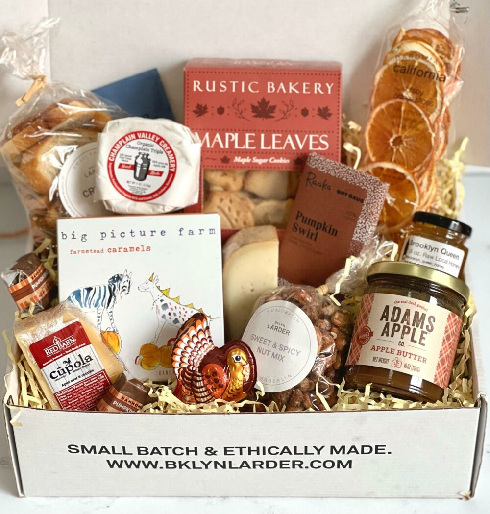 gift box with assorted thanksgiving food items