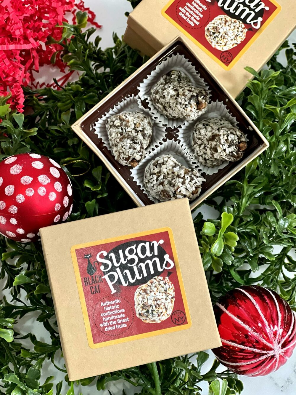 open box of sugar plums