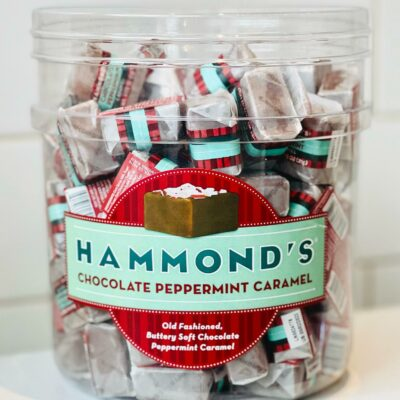Bin of individually wrapped caramels